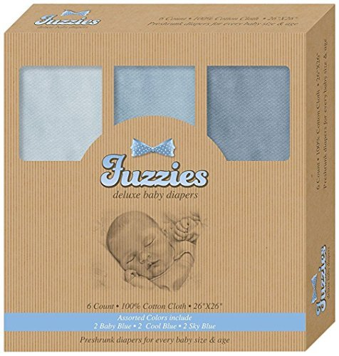 Fuzzies 6-Pack Deluxe Baby Burp Cloths, Cloth Diapers, Blue, Large and Absorbent, 100% Organic Luxury Cotton 26x26, for Newborns, Infants, Toddlers