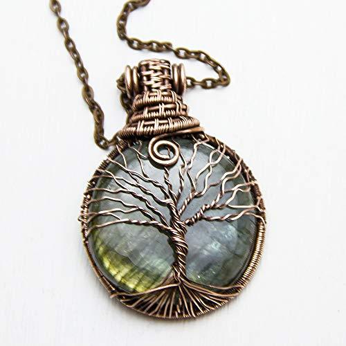 Nim Pendant - Labradorite Tree of Life Jewelry Handmade Copper Wire Wrap Pendant Unique Spiritual Necklace