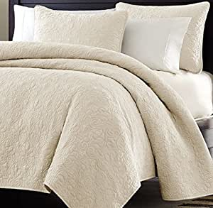 Multiple Sizes - Oversized-3pc Quilted Coverlet Set- Ivory-King - Exclusively by Blowout Bedding RN# 142035 by BlowOut Bedding