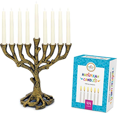 (Menorah Tree of Life Mini, Brass - Colored Candles for All 8 Days of Hanukkah Included! (Mini Tree of Life - Brass/White))