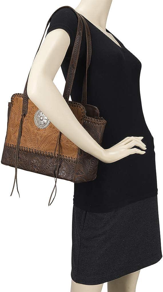 American West Leather - Borsa a tracolla con scomparti multipli Trasporta Abbronzatura Dorata.