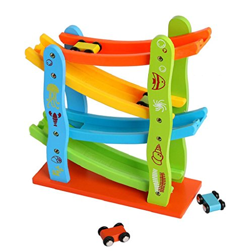 Car Toy,Yamally_9R Baby Wooden Ladder Flying Slot Track Car Educational Model Slide Toys