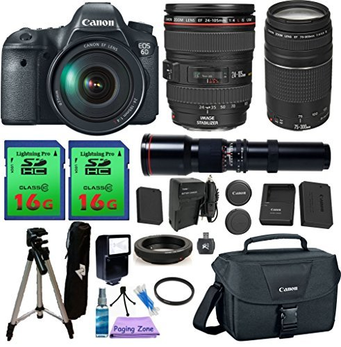 Canon EOS 6D Camera & 24-105mm F/4L IS USM & 75-300mm III & 500mm. PagingZone Kit Includes, 2 Pcs - 16GB Class 10 Memory Card + Canon Bag + Flash + Tripod + UV Filter + Extra Battery+ Extra Charger