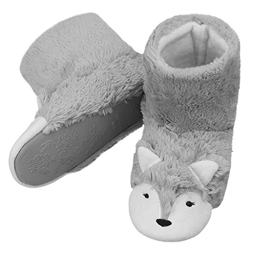 Non Fleece Cozy slip Indoor Grey Slippers Girls Soft Ladies Ankle Plush Womens Booties Fox Shoes Slip Winter Boots Cartoon on Warm Pzq7wE