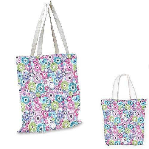 Floral canvas shoulder bag Colorful Pastel Pattern with Flowers and Vintage Curls Ornate Style Gerbera Daisies travel shopping bag Multicolor. 15