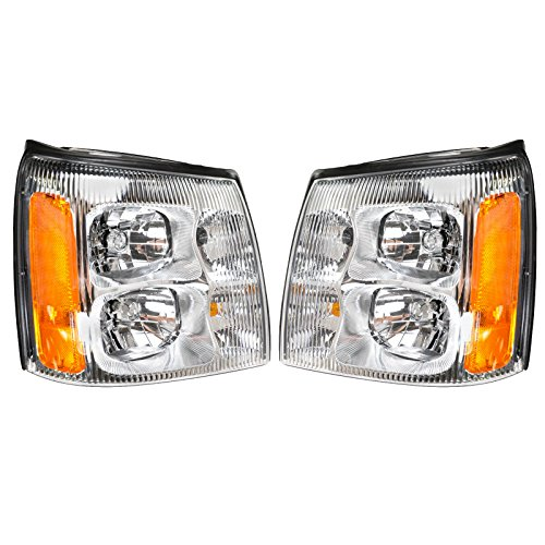 Headlights Headlamps LH & RH Pair Set for 02 Cadillac Escalade Pickup Truck EXT