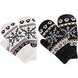 Set of 2 Snowflake Winter Knit Mittens Gloves, Black/White Snowflake