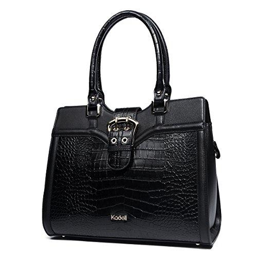 Kadell Women's Leather Designer Handbags Shoulder Bag Satchel for Office Ladies Black