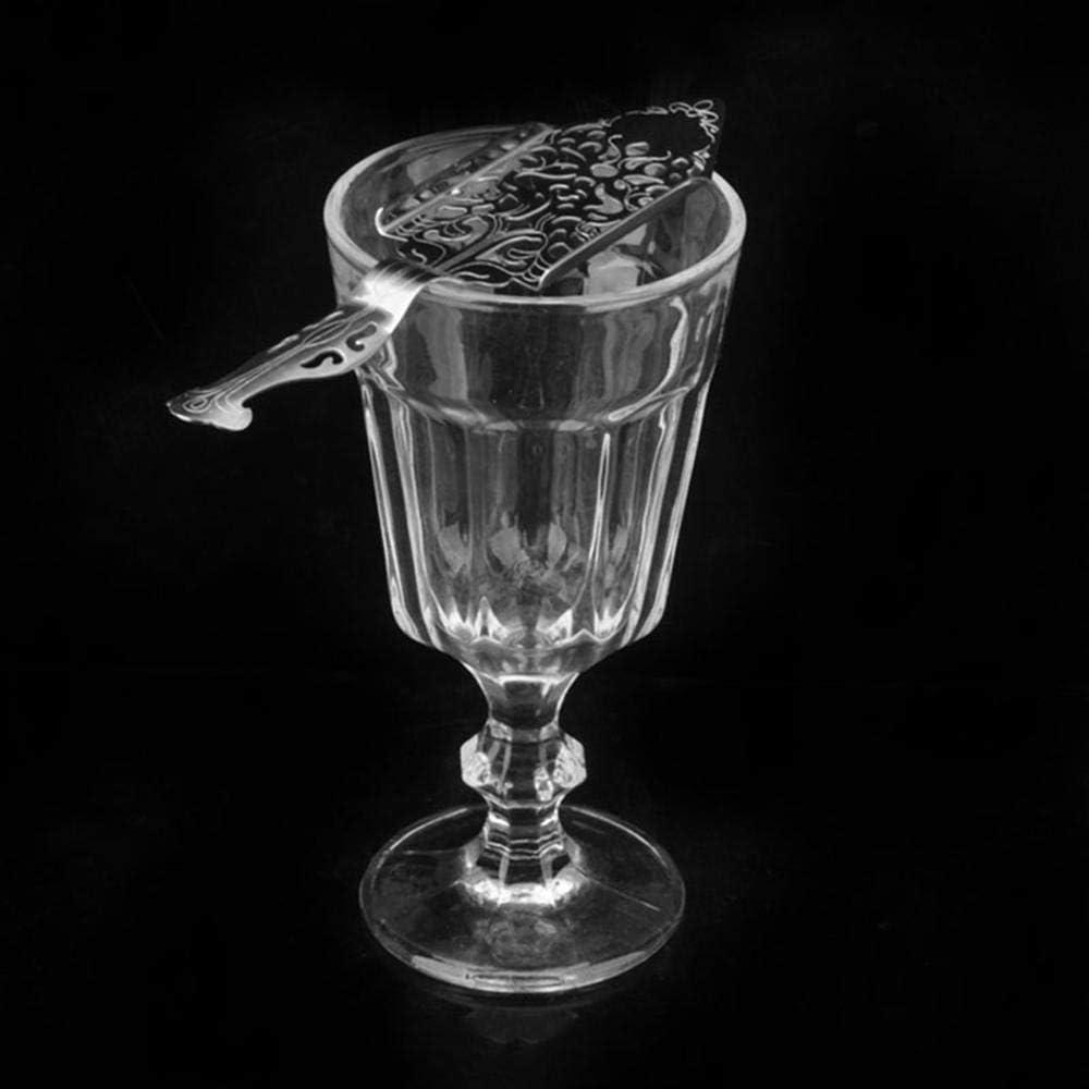 Teepoo cubo di Zucchero Resistente al Calore in Acciaio Inox Silver Cucchiaio da assenzio in Stile Gotico Originale per Fontana di assenzio per Bicchieri di Zucchero