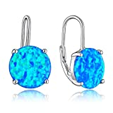 Sterling Silver Lever Back Earrings With 11mm Created Blue Opal