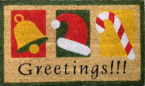 Avera Season's Greetings! Christmas Holiday Decor Welcome Doormat Coir Fiber with Anti-Slip PVC Backing, 17