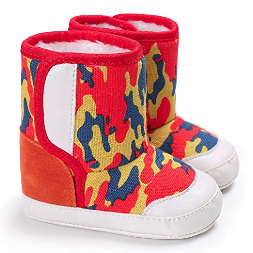 Hunpta Camouflage Baby Soft Sole Schnee Stiefel Soft Crib Schuhe Kleinkind Stiefel Rot