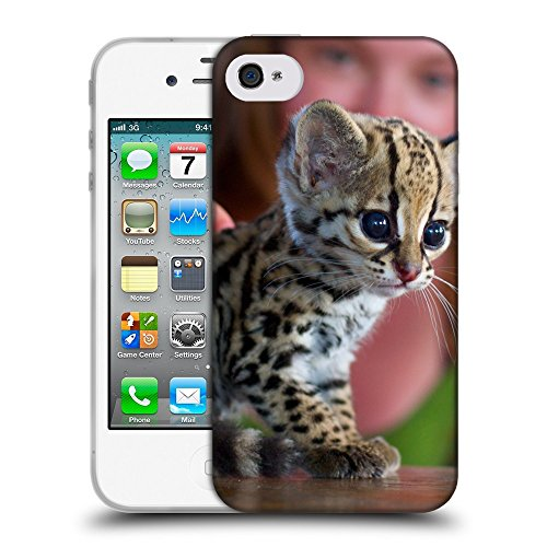 Just Phone Cases Coque de Protection TPU Silicone Case pour // V00004245 Fille flattent un ocelot chaton // Apple iPhone 4 4S 4G