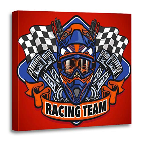 Semtomn Canvas Wall Art Print Piston Skull Wearing Motocross Helmet Racing Team Stroke Cup Artwork for Home Decor 12 x 12 Inches