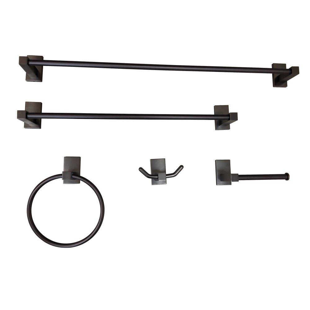 Kingston Brass BAHK8212478ORB Continental Bathroom Accessory Set (5 Piece) 24'' Length Oil Rubbed Bronze