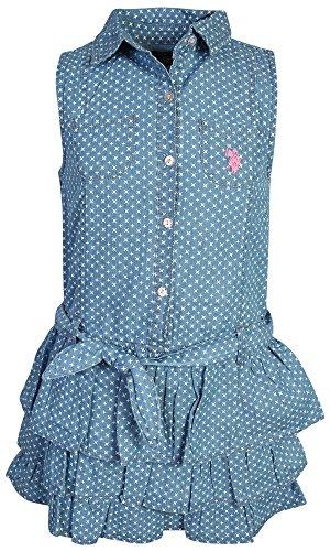 U.S. Polo Assn. Girl's Denim Style Dress, Blue Wash Star, Size 10 -