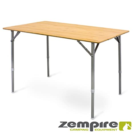 Zempire XXL Diseño Camping bambú Tablero de Mesa Mesa Plegable Mesa Plegable Mesa abrebotellas Altura Regulable 105 x 65 x 65/43 cm