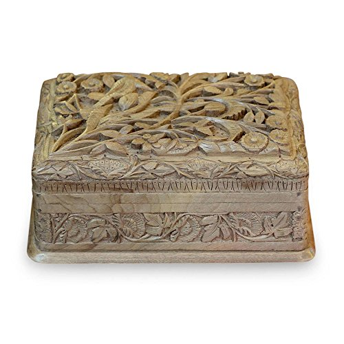 NOVICA Leaf and Tree Birds in Wonderland' Walnut Wood Jewelry Box