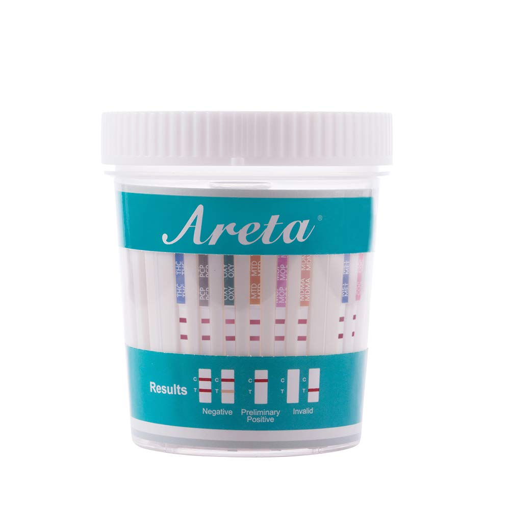 10 Pack Areta 12 Panel Instant Drug Test Cup -Testing Instantly for 12 Different Drugs:BUP,THC,COC,MOP,MET,OXY,AMP,BAR,BZO,MTD,MDMA,PCP- #ACDOA-6125B by Areta