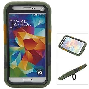 Mzamzi - gran valor stand design silicone & plastic protective case for samsung galaxy s5/i9600 camouflage color