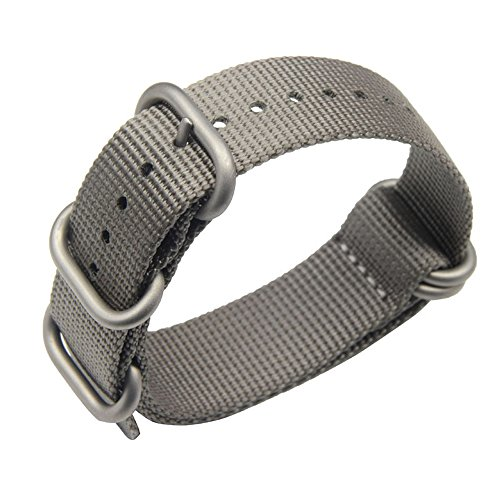 22mm Grey Deluxe Premium NATO Style Sturdy Exotic Soft Nylon Sport Men's Wrist Watch Band - Rings Deluxe 22