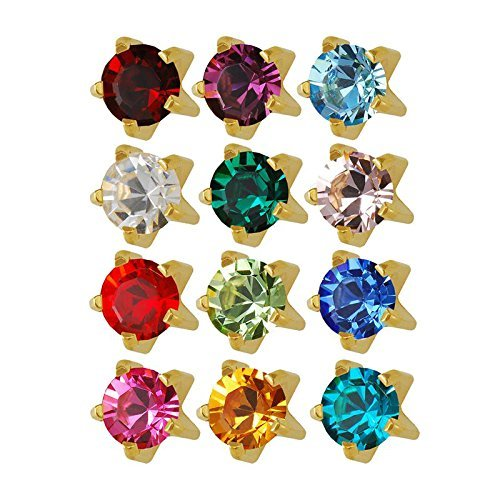 Earrings Birthstone Piercing - Studex 24K Plated Surgical Steel 3mm Regular Size Ear Piercing Earrings Studs in Prong Style Setting, 12 Pair Mixed Colors Yellow Metal