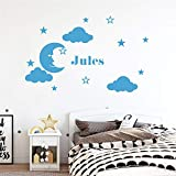 quleisw Vinyl Removable Wall Stickers Mural Decal Art Family Decals Personalized Name with Stars Clouds for Nursery Kids Room Boys Girls Room
