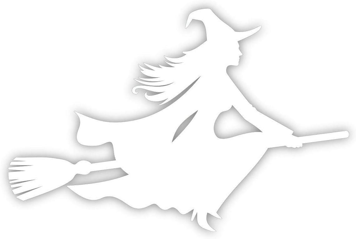 Aufkleber Hexe Auf Besen Rechts 15x10 Cm Art Kfz 508 Rechts Weiß Außenklebend Für Auto Lkw Motorrad Moped Mofa Roller Fahrzeuge Uv Und Witterungsbeständig Für Waschanlagen Geeignet Auto