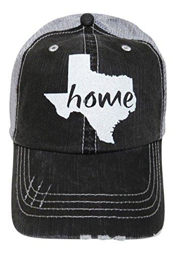 White Glitter Texas Home Distressed Look Grey Trucker Cap Hat Western - Texas Glitter