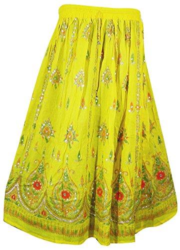 Womens Rayon Skirt Designer Spring Summer India Clothing (Yellow) ()