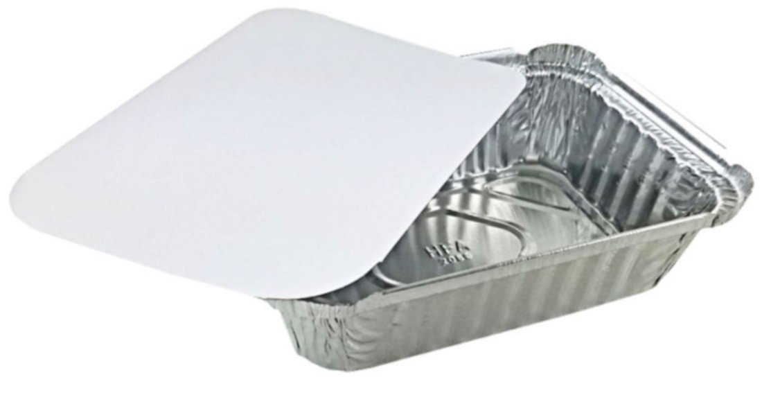 Pactogo 1 1/2 lb. Disposable Oblong Aluminum Foil Take-Out Pan with Board Lid Containers 7.07'' x 5.13'' x 1.69'' (Pack of 50 Sets)