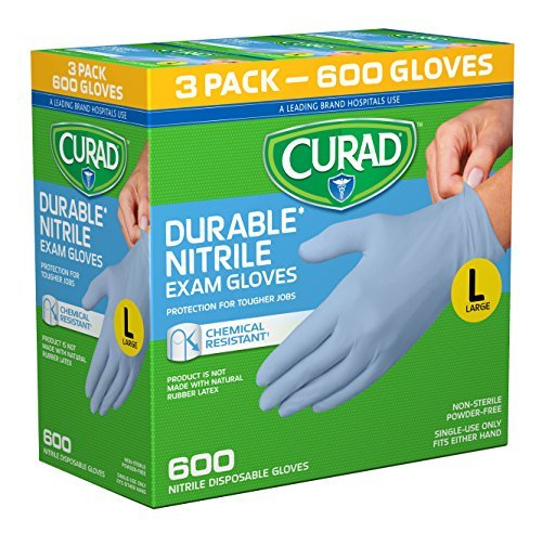 CURAD Disposable Nitrile Exam Gloves, Large, Blue, (600 Count)