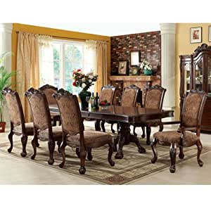 247SHOPATHOME IDF-3103T-9PC Dining-Room, 9-Piece Set, Brown