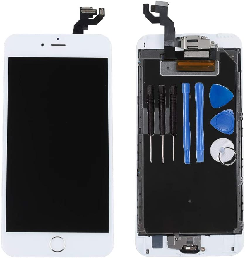 """for iPhone 6s Plus Digitizer Screen Replacement White - Ayake 5.5"""" Fulll LCD Display Assembly with Home Button, Front Facing Camera, Earpiece Speaker Pre Assembled and Repair Tool Kits"""
