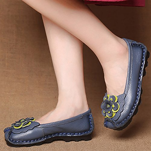 Odema Womens Handmade Original Art Leather Slip Ons Loafers Flats Moccasins Driving Shoes Casual Walking Shoes Dark Blue a3icYNv0Gu