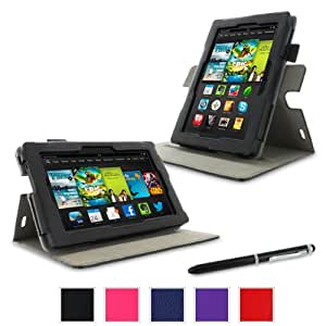 """rooCASE Amazon Kindle Fire 7 Case - (2013 Previous Generation) Dual View Multi Angle Tablet 7-Inch 7"""" Stand Cover - BLACK (With Auto Wake / Sleep Cover)"""