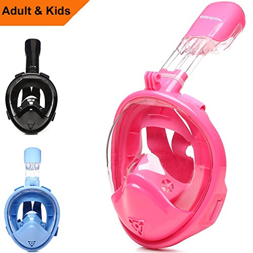 Snorkel Mask Kids, Sea view 180 degree Easy Breathe Full Face Snorkeling Mask for Children, Anti-Fog and Anti-Leak - Blue, Pink, Black (2017 Kid Version)