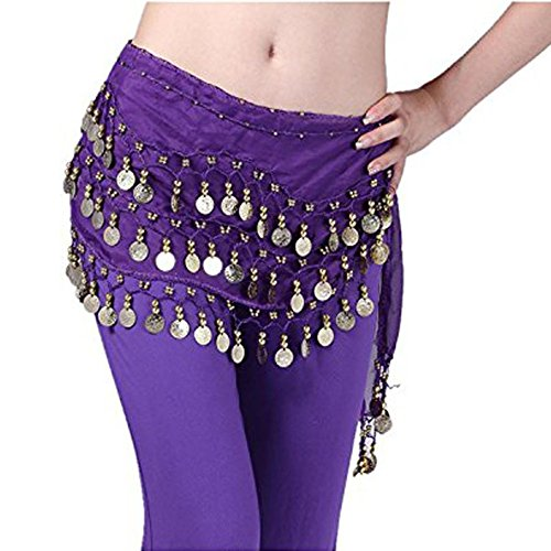 Uherebuy Chiffon Dangling Gold Coins Belly Dance Hip Skirt Scarf Belt (Deep Purple)