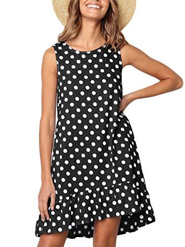 MOPOOGOSS Women Printed Dress Crew Neck Ruffle Polka Dot Loose Fit Tank Dress Black X-Large (Ruffle Tank Dot)