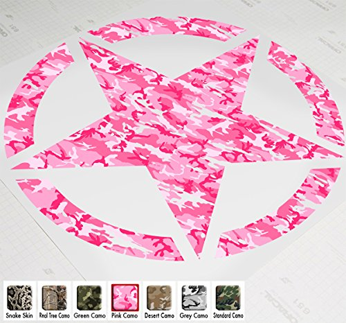 "20"" Jeep Wrangler Freedom Edition Star Hood Decal Sticker Premium Patterns (Pink Camo)"