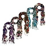 Multi Color Tribal Style Fringe Scarf - Different Colors Available