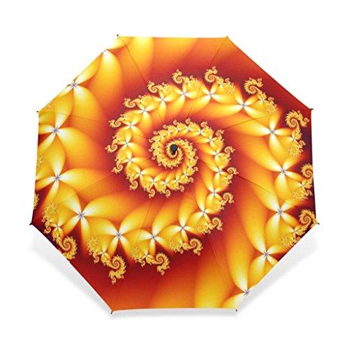EnnE Beautiful Fractals Umbrella Rain Folding Umbrella Sun Easy Carrying Travel Compact Umbrella Lightweight 8 Ribs (Fractal Rib)
