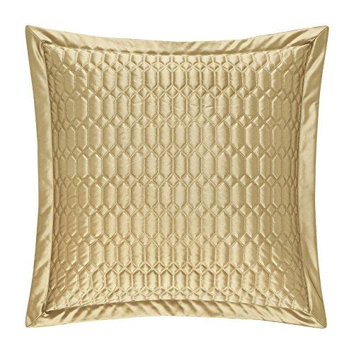 Five Queens Court Saranda Satin Geometric Quilted Euro Pillow Sham, (Gold Satin Sham)