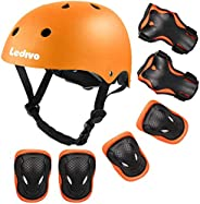 Ledivo Kids Adjustable Helmet Suitable for Ages 3-8 Years Toddler Boys Girls, Sports Protective Gear Set Knee