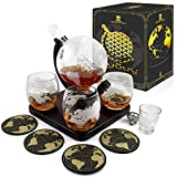 Krown Kitchen - Globe Decanter Gift Set. Includes Wood Base, 4 Glasses, 4 Coasters, Shot Glass, and Funnel. This Whiskey Decanter and Glass Set is The Perfect Gift.
