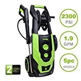 PowRyte Elite 2300 PSI 1.9 GPM Electric Pressure Washer, Portable Power Washer Hose Reel, 5 Quick-Connect Spray Tips Onboard Detergent Tank