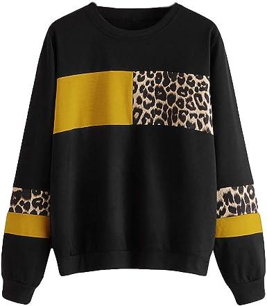 Vêtements femme lâche longtemps Leopard Sweatshirt imprimé décontracté Blouse