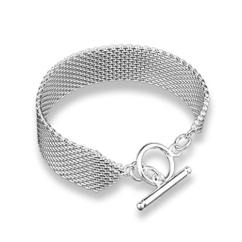 SUNGULF 925 Sterling Silver Plated Link Bracelets for Women (15mm ()