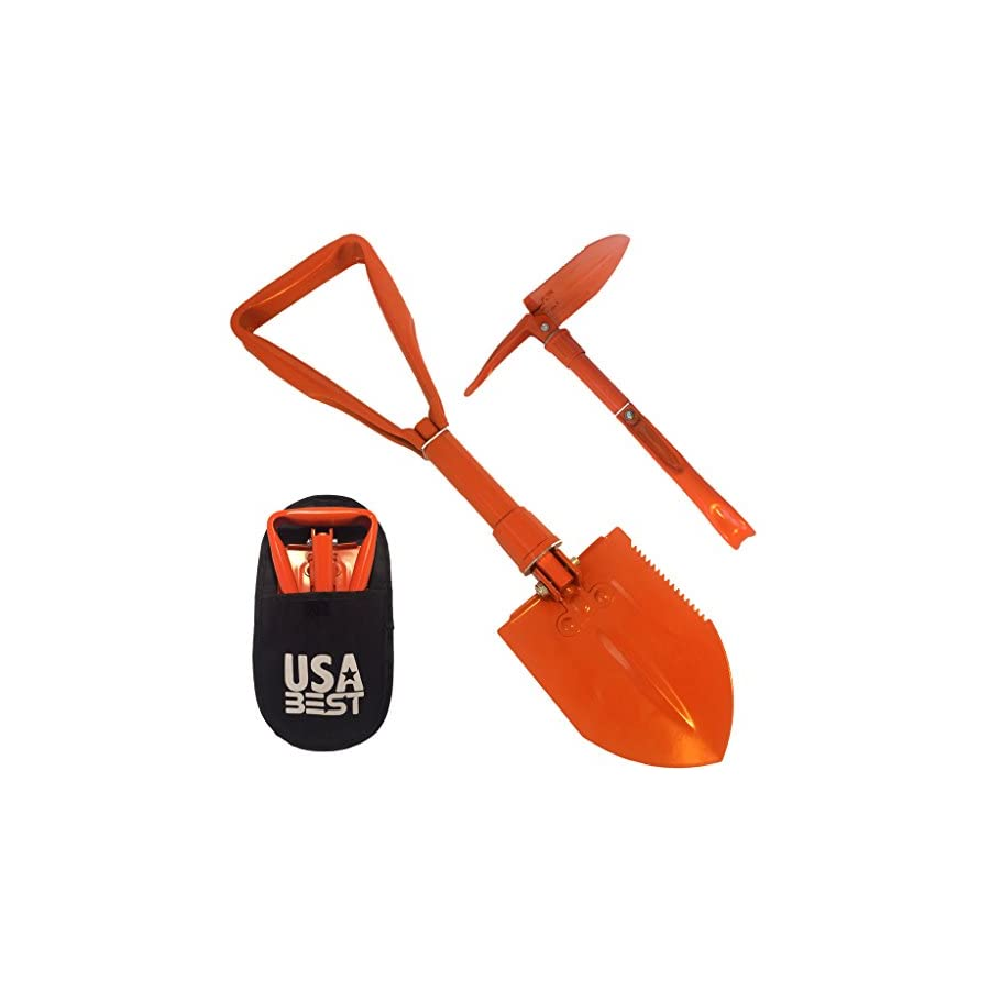 USA Best Small Emergency Folding Shovel with Pick Axe keep it in your car or take it camping as a survival kit tool (Orange)