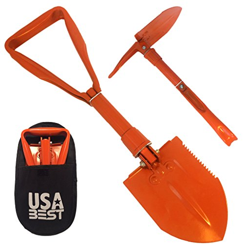 USA Best Small Emergency Folding Shovel with Pick Axe - keep it in your car or take it camping as a survival kit tool (Orange) by USA Best